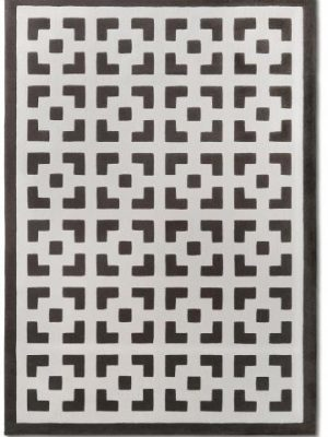 tapis alp_ geometric marron blanc