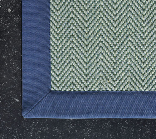 tapis ganse coton bleu