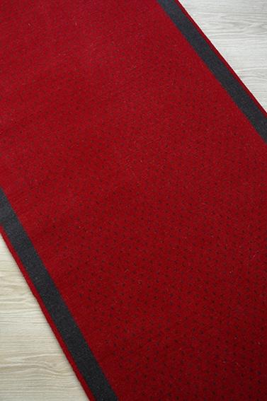 Tapis déstockage rouge à bande noire petite largeur