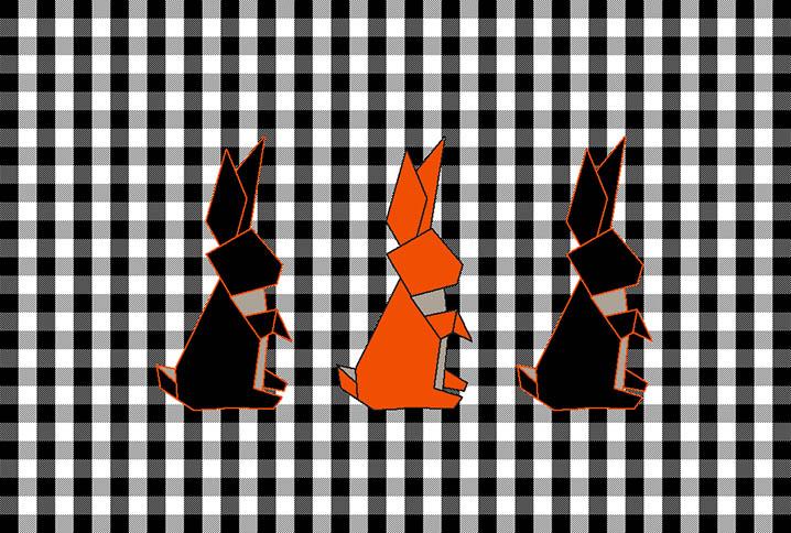 Tapis chambre enfant origami lapin orange et noir
