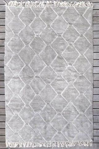 tapis intérieur tissé main beige à motifs géométriques