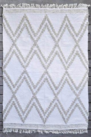 tapis d'intérieur losanges beige et blanc