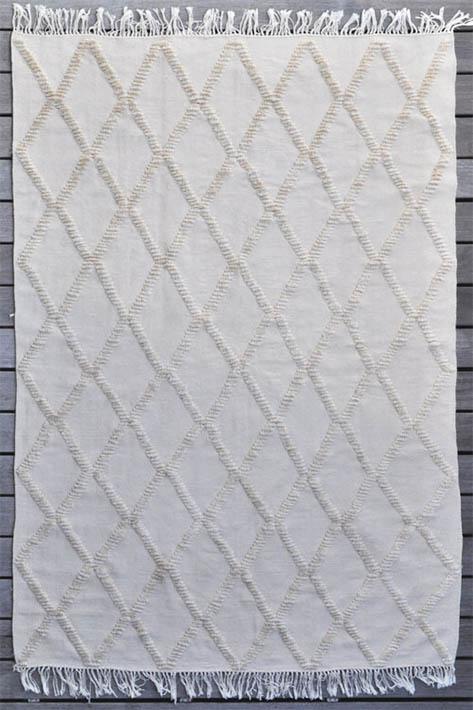 grand tapis d'intérieur losanges beige