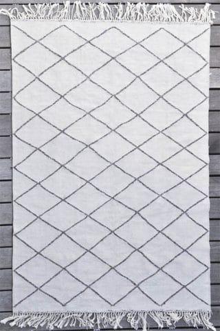 tapis d'intérieur à losange blanc