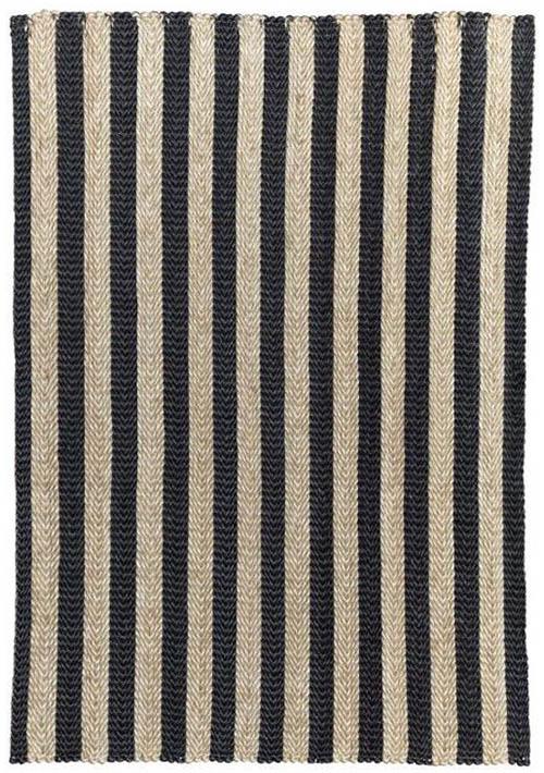 grand tapis d'intérieur en coco rayé noir et beige