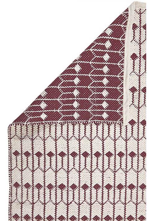 tapis d'intérieur rouge et blanc à motifs tulipe géométrique