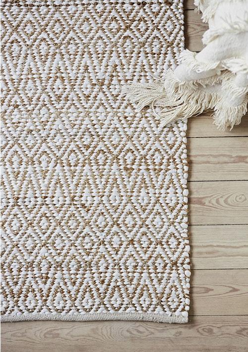 tapis sur parquet beige et blanc