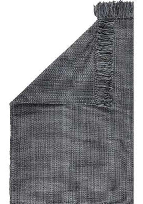 tapis gris foncé avec franges