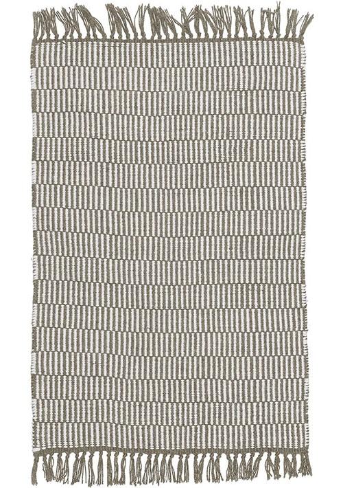 tapis beige et blanc avec franges